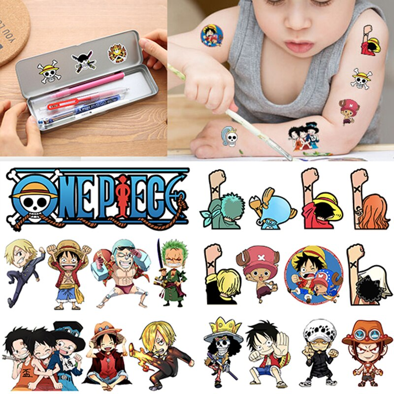 One Piece Tattoo Sticker Children Cute Cartoon Hero Temporary Tattoo Stickers Baby Shower Kids Body Makeup Sticker Tattoos