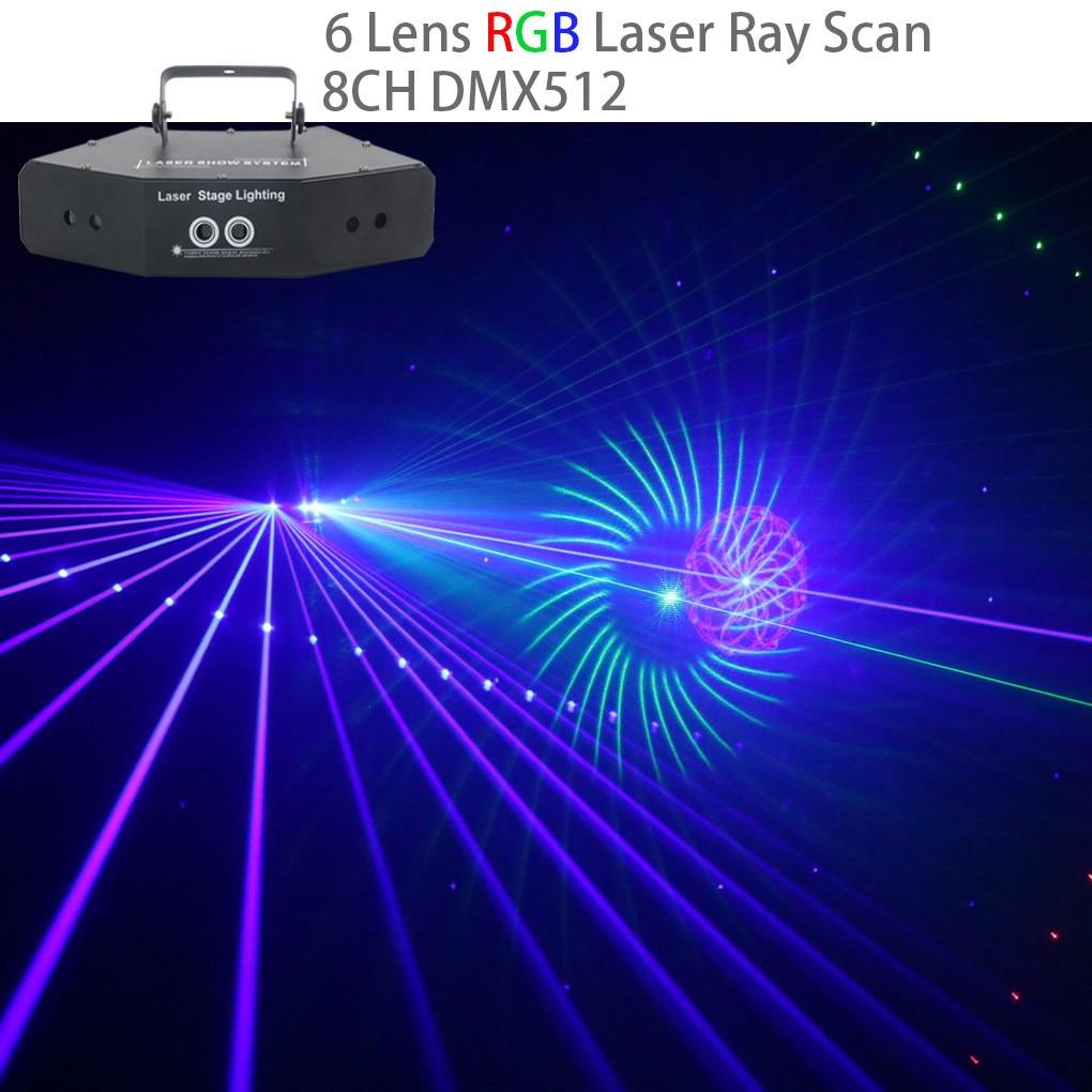 AUCD 6 ojos 24 diseño grande RGB Ray red óptica luces láser haz de luz DMX DJ Disco de Navidad Fiesta en casa mostrar iluminación de escenario CX6