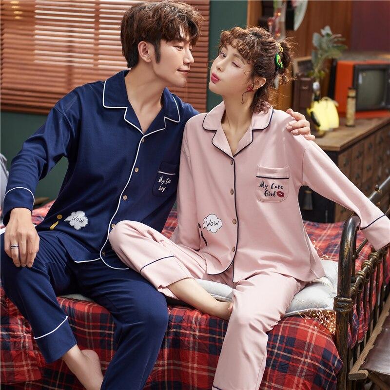Весна пара кардиган пижамы комплект женщины и мужчины длинный рукав отложной воротник одежда для сна любовник гостиная пижама плюс размер пижамы