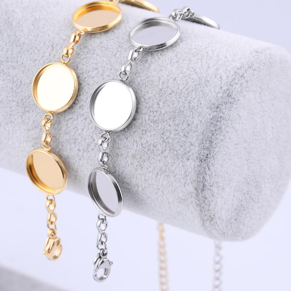 2pcs Stainless Stee Gold Plated 12mm Round Cabochon Bracelet Base Setting Blanks Diy Bezel Trays For Bracelets Jewelry Making
