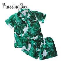 Feuille imprimé Pyjama ensemble Sexy rayonne coton vêtements de nuit vert court dames Pyjama mode fleur pyjamas pour les femmes