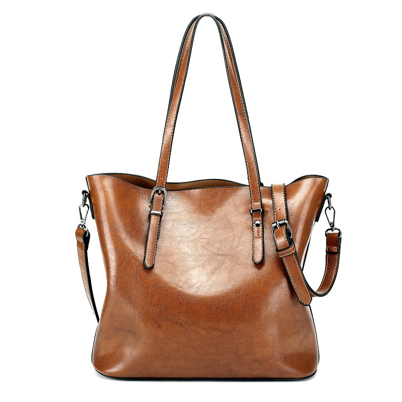 Bolso de hombro de mujer de moda bolsos de mano de cuero de cera de aceite de gran capacidad bolso de mano de cuero de Pu Casual para mujer