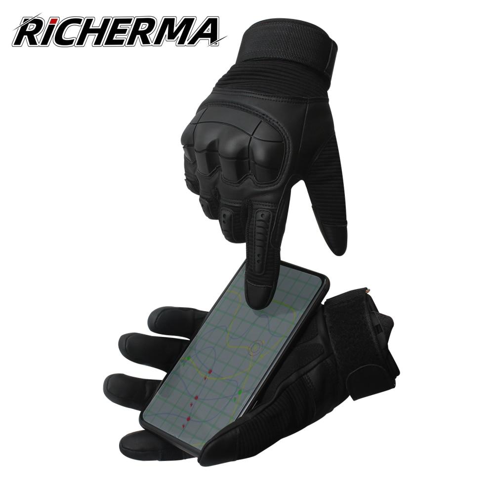 Guantes de moto de invierno para hombre, guantes de Motocross con pantalla táctil para hombre, guantes duros para mujer, guantes protectores de cuero para moto