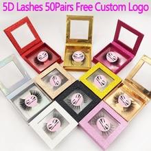 50 paires 5D vison cils faux cils naturels longs cils professionnels à la main maquillage beauté outils cosmétiques faire logo gratuit