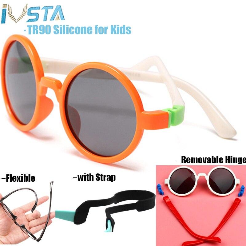 Ivsta crianças óculos de sol óculos redondos polarizados crianças meninas meninos do bebê com alça de borracha nenhum parafuso tr90 silicone removível dobradiça