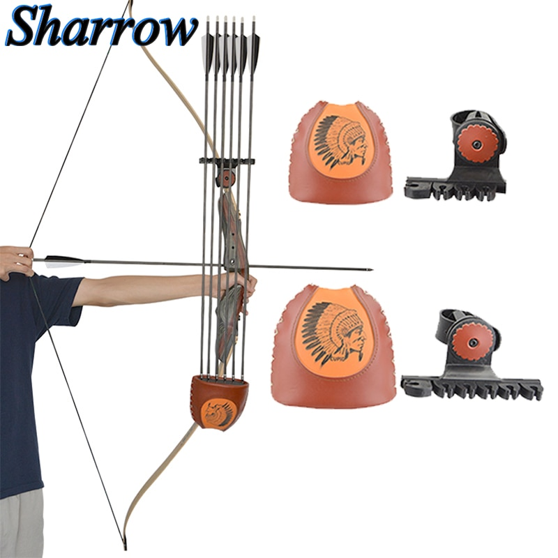 high quality cow leather arrow quiver bag archery shooting hunting accessories riding brown for bow arrows holder 52cm shoulder Archery Arrow Quiver 6-Arrows Deadlock Lite Arrow Quiver Rest No arrows Shooting Recurve Bow Hunting Portable Bow Accessories