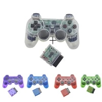 transparent color bluetooth wireless gamepad controller for sony ps2 2 4g vibration controle for plastation 2 joystick