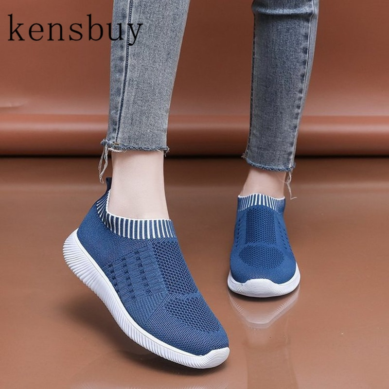 New Women's Sneakers In Mesh Concise Flat Lightweight Walking Sock Sneakers Summer Casual Chaussures Tenis Loafers Plus Size 43