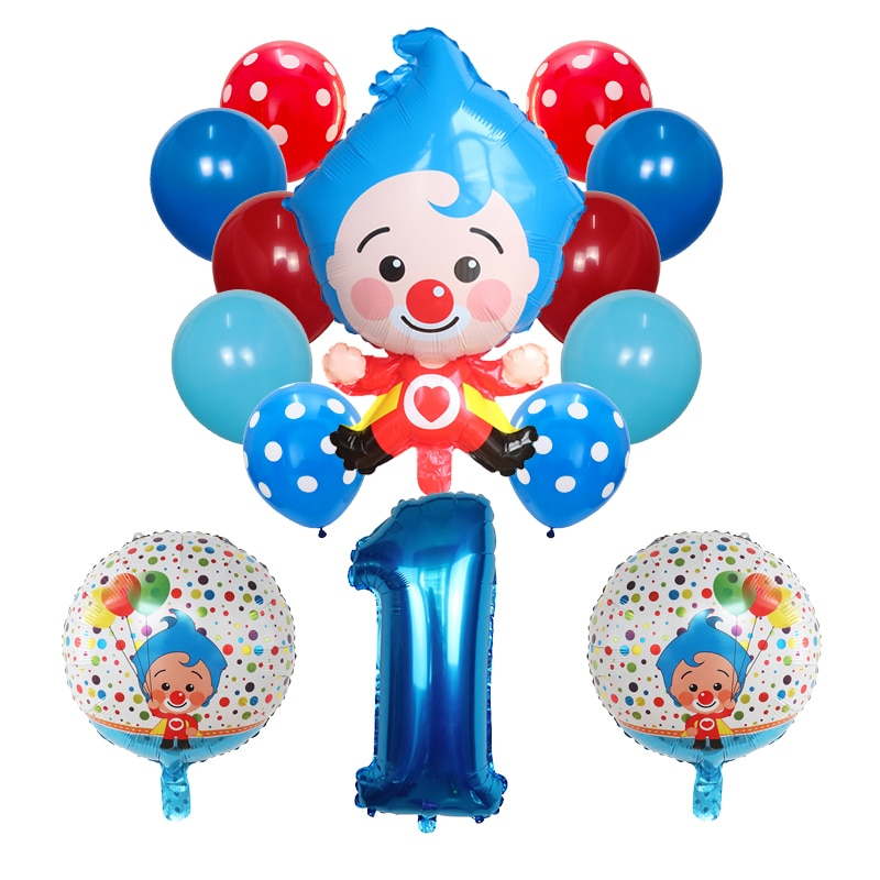 14pcs/set Plim Clown Foil Number Balloons Latex Air Globos Children Baby Shower Birthday Party Decor