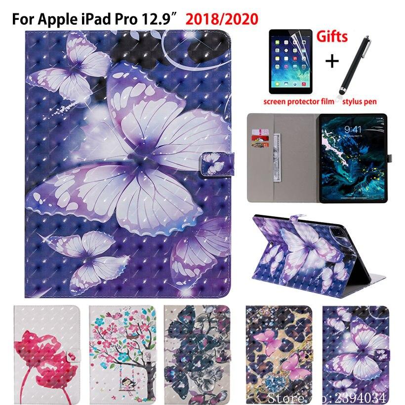 "Funda colorida 3D para iPad Pro 12,9 2020 4ta Funda para iPad Pro 12,9 ""2018 silicona PU soporte Funda carcasa Coque + regalo"