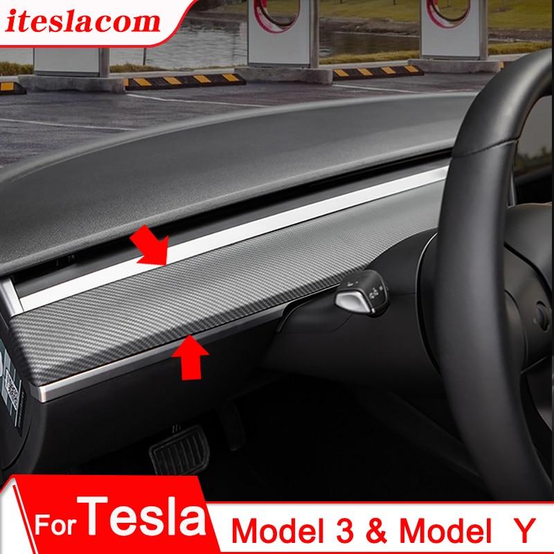 Новая крышка приборной панели Tesla Model 3 2021 из углеродного волокна АБС аксессуары для интерьера модель Y Автомобильная центральная консоль па...