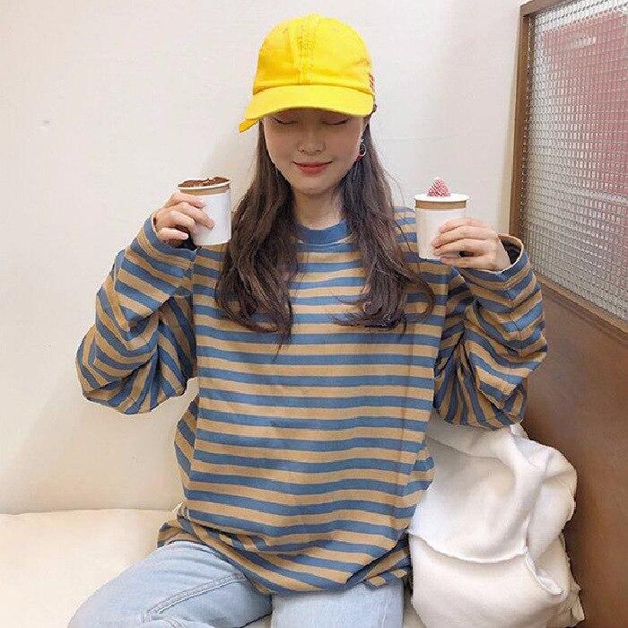 Corea del Sur CHIC otoño ropa versátil rayas de manga larga Camiseta suelta-Fit pulóver Harajuku-estilo Tops -40