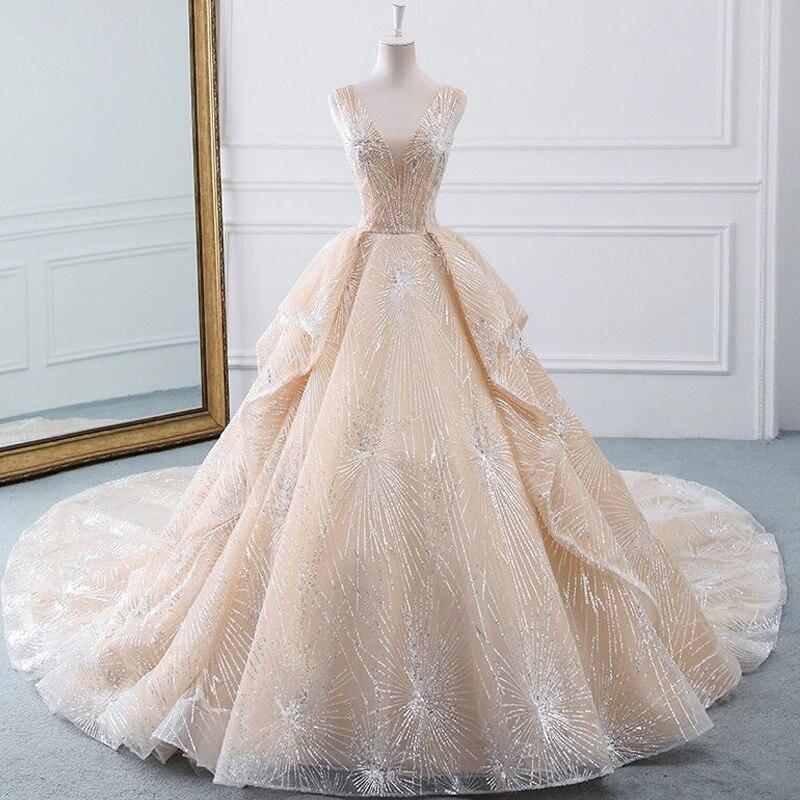 Vestido de novia Dubái glitter nuevo encaje lentejuelas cuello en V una...