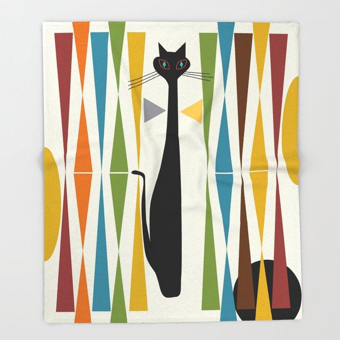 Animal Blanket Geometric Pattern Cat Design Flannel Throw Blanket Office/Travel/Picnic Soft Blanket Bedding Article Bedspread