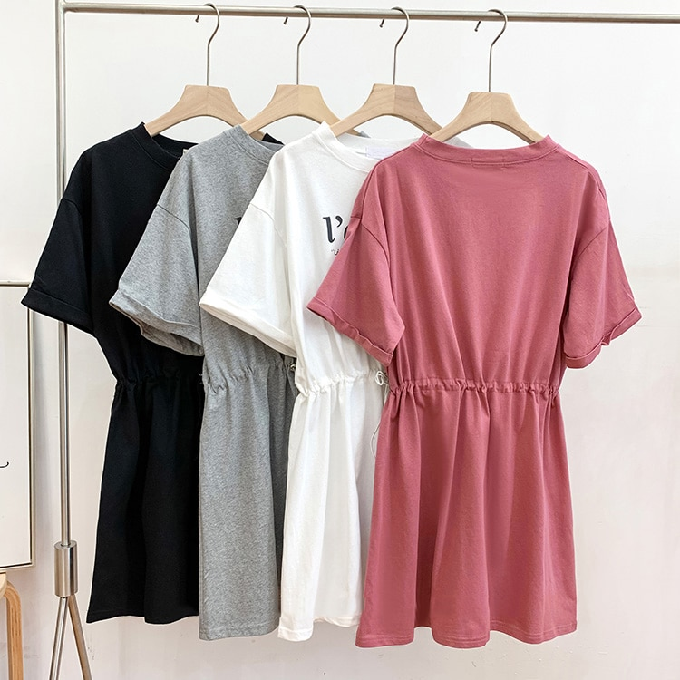 2021 Summer New Women's Dress Design Sense Non-mainstream Mid-Length Drawstring Waist Slimming Casua