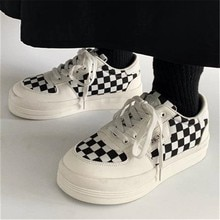 Women Shoes 2021 New Black White Plaid Casual Canvas Shoes Female Lace-up Platform Sneakers Ladies W
