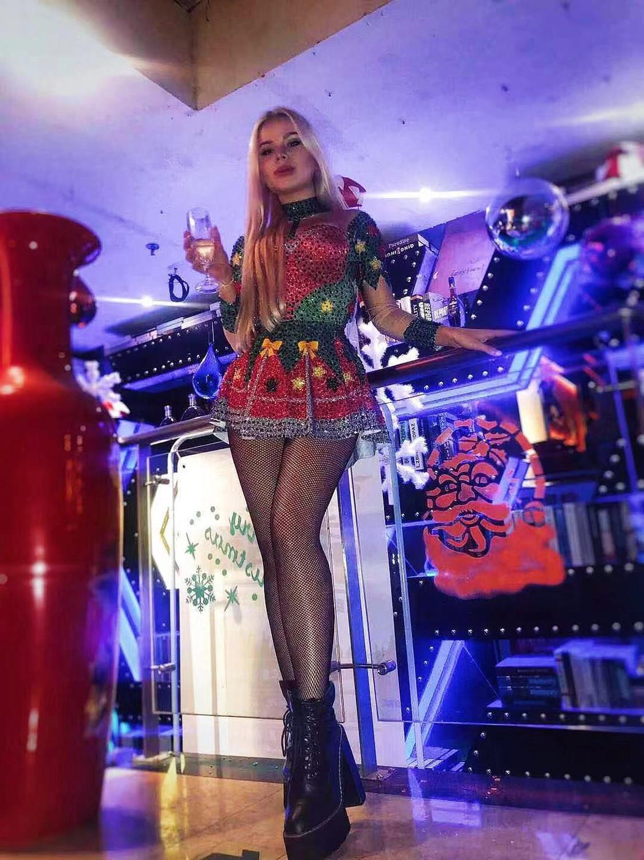 ¡Nuevo! Navidad 2020 para mujer, vestido de cantante de Bar con brillantes diamantes de imitación rojos y plata, atuendo Sexy para baile de escenario, cumpleaños, graduación, juego de expositor de vestido
