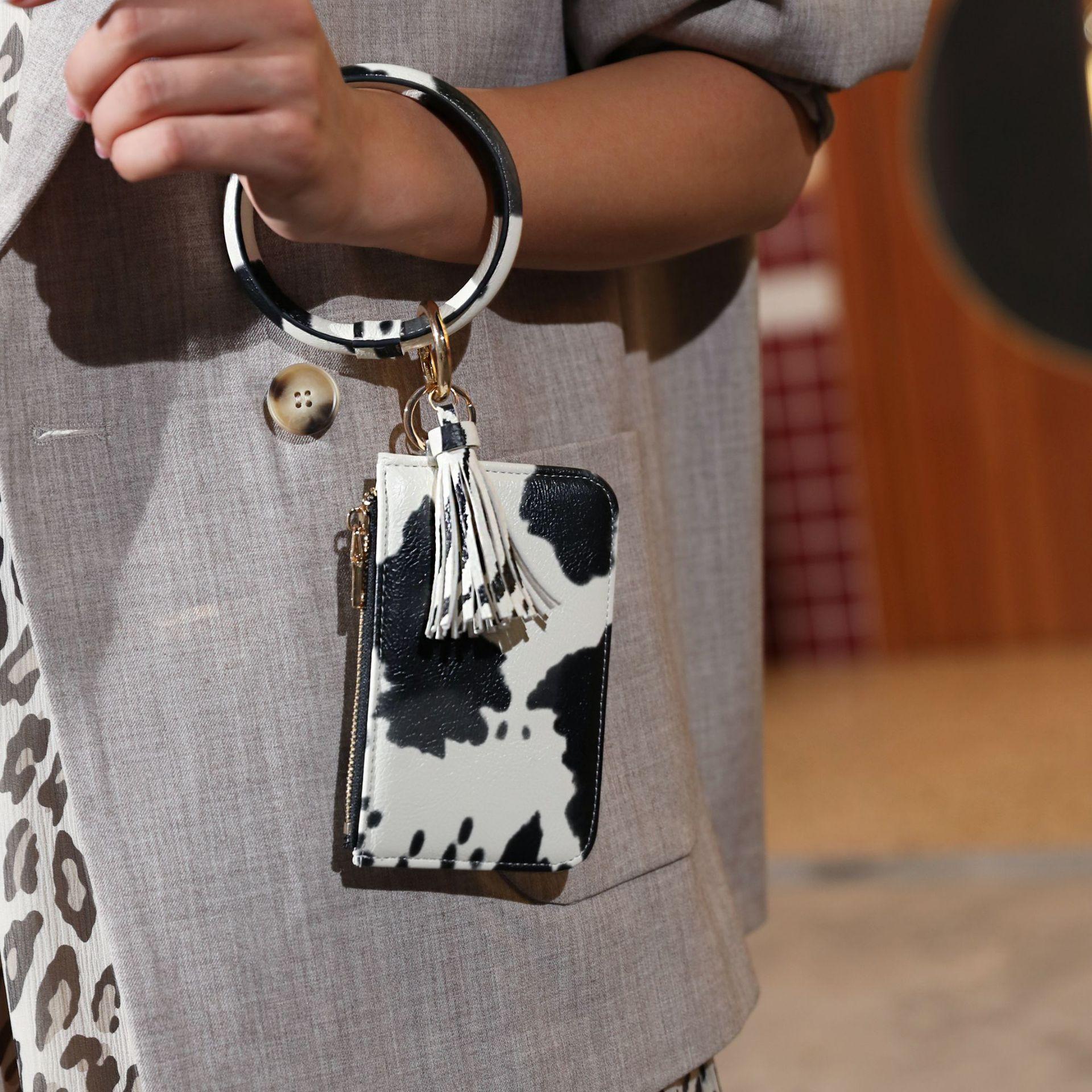2020 nueva moda patrón Animal patrón monedero llavero borla grande círculo brazalete pulsera llavero
