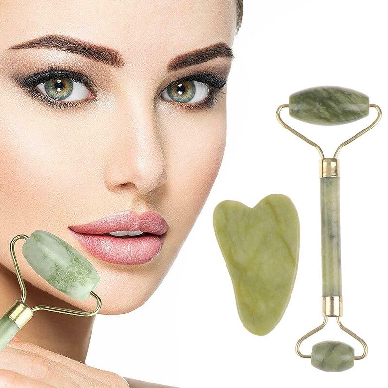 2 en 1 rouleau vert et Gua Sha outils ensemble par Jade naturel grattoir masseur oeil visage cou mince ascenseur Relax visage minceur outil