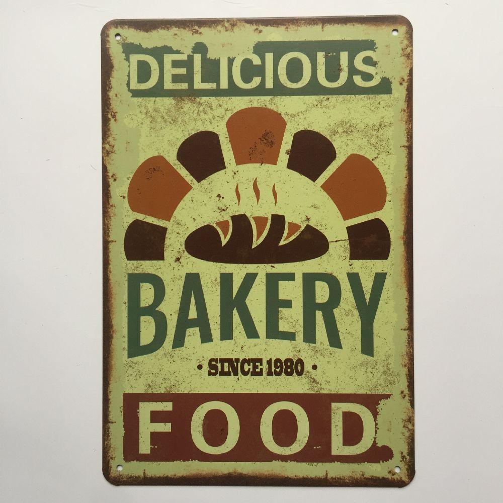 Panadería comida beber cerveza, vino, cartel Metal whisky placa cartel de hojalata Vintage decoración de la pared para Bar Pub hombre cueva platos decorativos