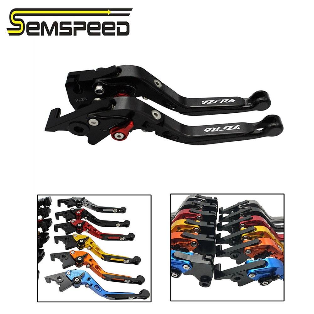 Semspeed r1 r6 logotipo da motocicleta cnc extensível dobrável embreagem do freio lidar com alavancas para yamaha r1 2004-2008 2006 r6 2005-2016 2015