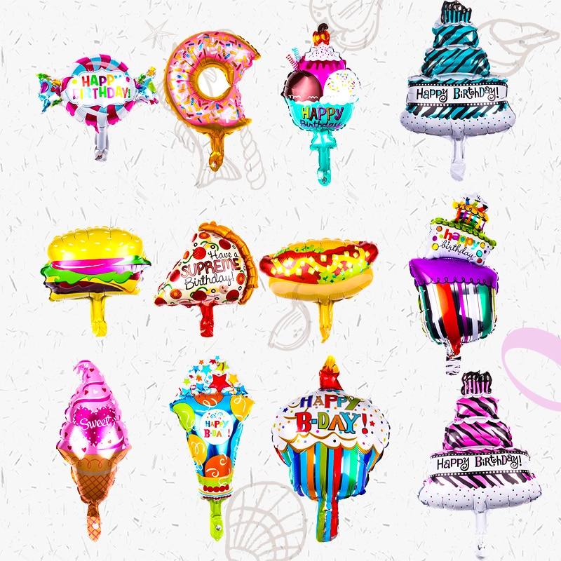 5PCS Mini Ice Cream Candy Foil Balloon Birthday Cake Donut Pizza Food Balloon Birthday Party Decor Kids Inflatable Globos Balls