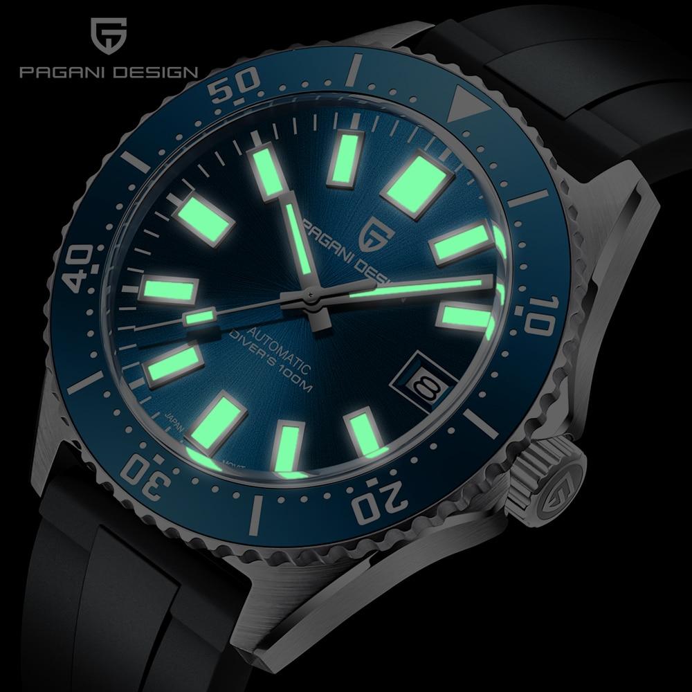 PAGANI DESIGN Men Automatic Mechanical Watch Fashion Business 100M Waterproof Sapphire Glass Mens Watch NH35A Movement
