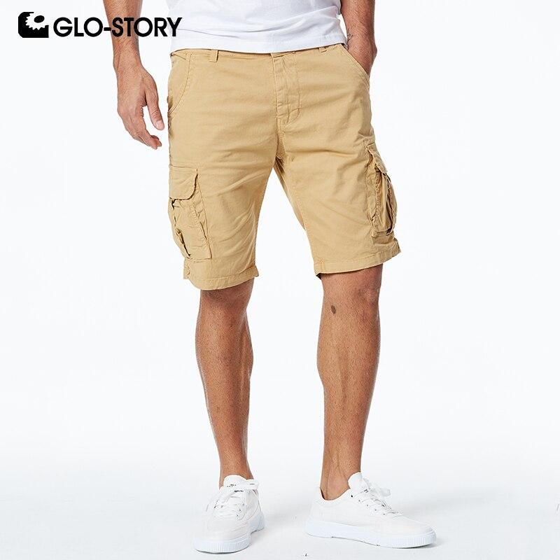GLO-STORY 2020 Bermuda Masculina de alta calidad europea Casual Streetwear verano algodón Cargo Shorts MMK-6236