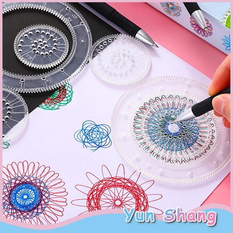 Juguetes de dibujo mágico 27 Uds conjunto de espirógrafo arte para niños artesanía Crear plantilla de pintura de arte para niños regla papelería dibujo