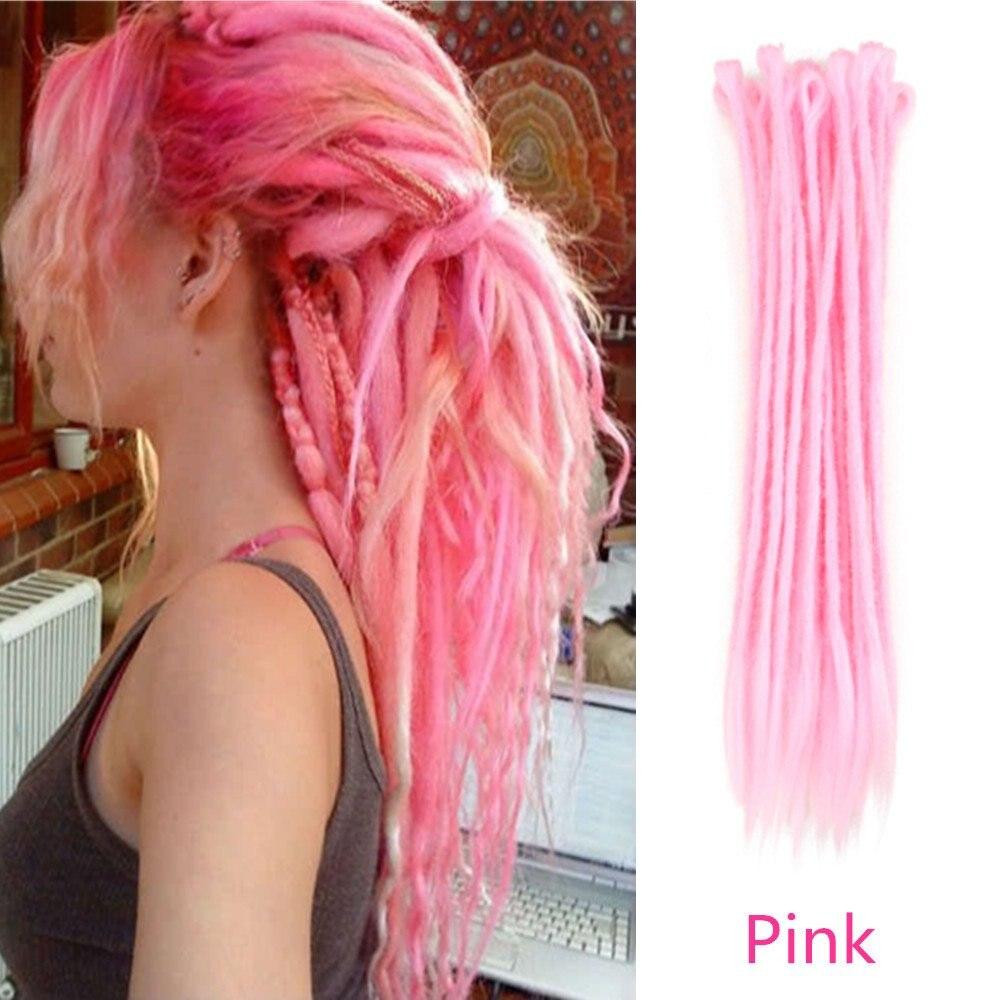 20 인치 핑크 크로 셰 뜨개질 합성 머리 확장 합성 dreadlock 수제 꼬기 머리 아프리카 여성 남성 힙합 소년 스타일