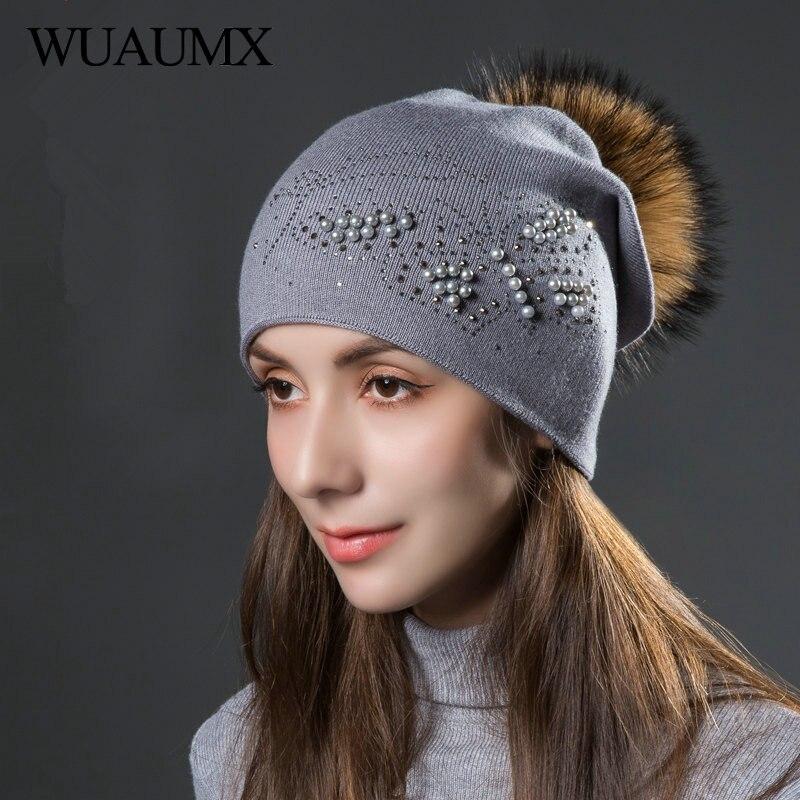 Wuaumx Branded Winter Wool Beanies Hats For Women Warm Knitted Cap Ladies Real Fur Pom Pom Hat Pearl Rhinestones Hat