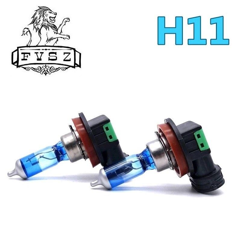 2 pièces H11 12V 55W pgj19-2 voiture halogènes phares ampoules 5000k coupe courte lumière courte phare antibrouillard cool bleu et lumière blanche