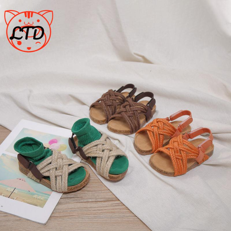 2020 Summer Children's Sandals Hemp Rope Sandals For Boy Girls Cork Sole Roman Shoes Kids Open Toe Non-slip Baby Casual Shoes
