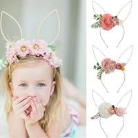 fake flower hair bands for girls boutique artificial organza floral headband princess party headwear kids hair accessories