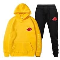 2 piece set akatsuki cloud symbols anime printed hoodie pants fitness men and women sweatshirts streetwear pullover suda