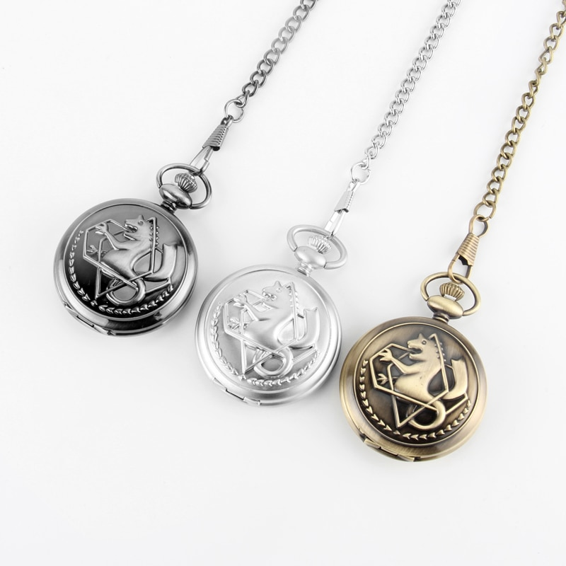 Reloj de bolsillo de cuarzo plateado Retro para hombre, a la moda, Anime japonés, collar de alquimista de metal, relojes Fob, regalo para chico, reloj