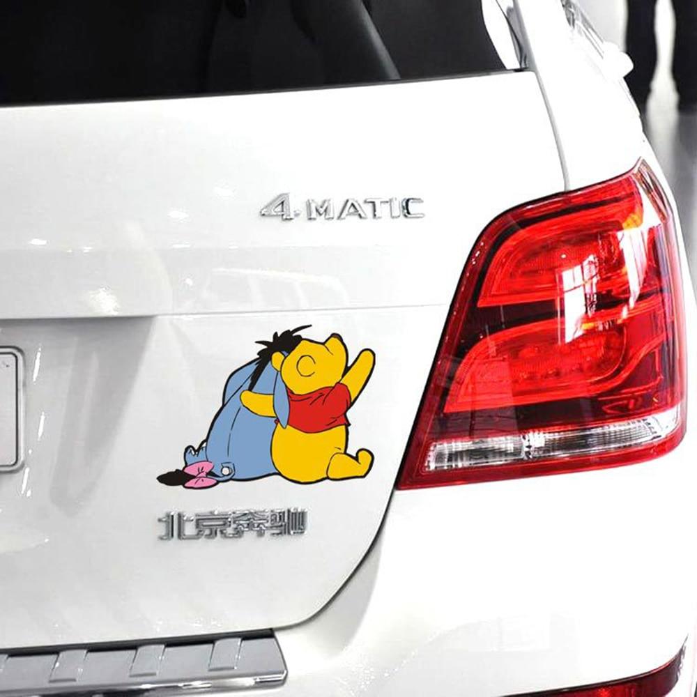 Мультяшная Автомобильная наклейка Aliauto, симпатичная наклейка с медведем на заднюю панель автомобиля для Audi A4 Hyundai Toyota Rav 4 Ford Focus Lada Kia