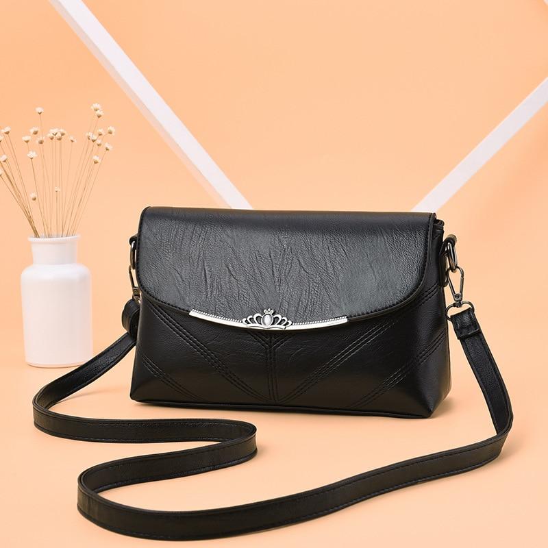 Ladies shoulder bag 2020 new fashion simple small bag middle-aged mother bag embroidered solid color ladies messenger bag