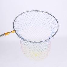 Stainless Steel Frame Foldable Fishing Net Brail Head Triangle Nylon Mesh Net Head Fishing Hand Landing Net Head