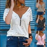 summer new 2021 women heart print loose zipper v neck t shirt ladies fashion striped short sleeve shirts tops s 5xl