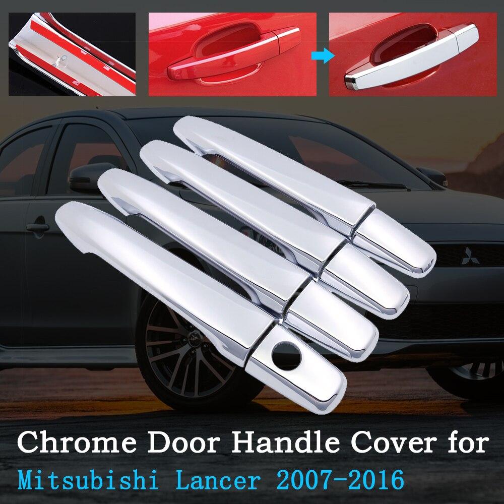 Chrome Car Door Handle Cover for Mitsubishi Lancer 10 X EX 2007~2016 Trim Set Exterior Accessories 2008 2009 2010 2012 2014 2015