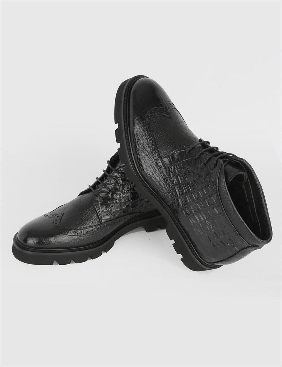 ILVi-جلد طبيعي مصنوع يدويًا Crys أسود FurMen مع جلد عائم-جلد أسود حذاء بوت للرجال خريف/شتاء 2020