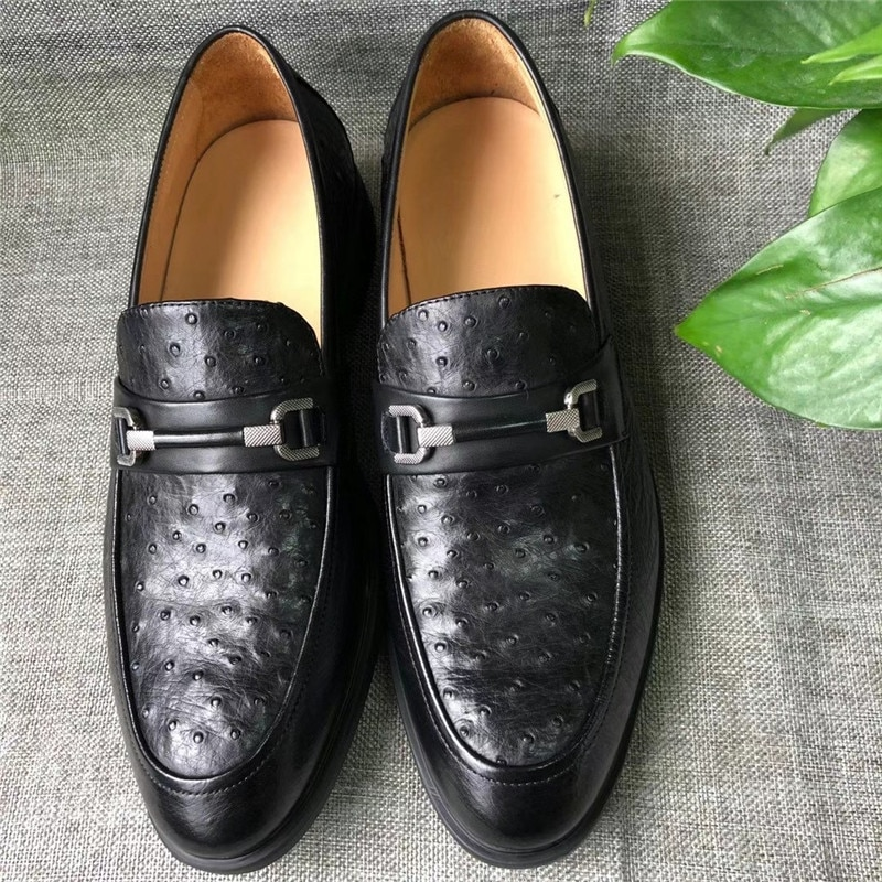 أصيلة حقيقية حقيقية جلد النعامة رجال الأعمال الأسود فستان رسمي أحذية جلد طبيعي الغريبة الذكور الانزلاق متابعة أكسفورد أحذية لل دعوى