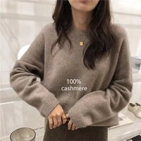 2020 autumn winter cashmere sweater women fashion round neck sweater loose 100 wool sweater batwing sleeve plus size pullover