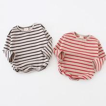 Moda estampado a rayas 2020 ropa para niñas. Camisetas de algodón de manga larga para niñas. Ropa de otoño y primavera para bebés