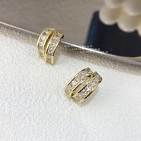 mengjiqiao 2021 korean fashion metal gold color circle hoop earrings for women elegant cute zircon oorbellen jewelry gifts