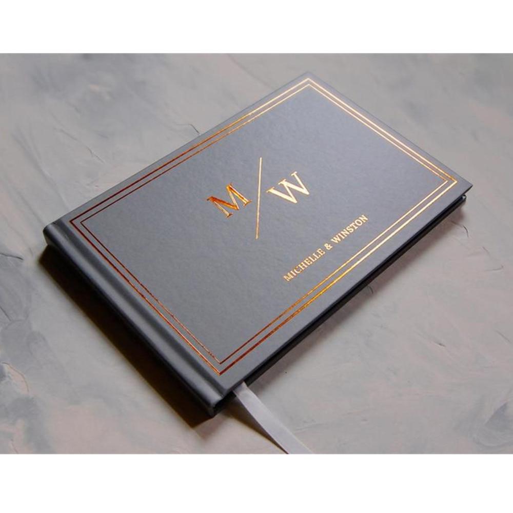 Folha cinza capa dura casamento guestbook personalizar cobre monograma chá de fraldas sinal no livro aniversary álbum personalize foto livro