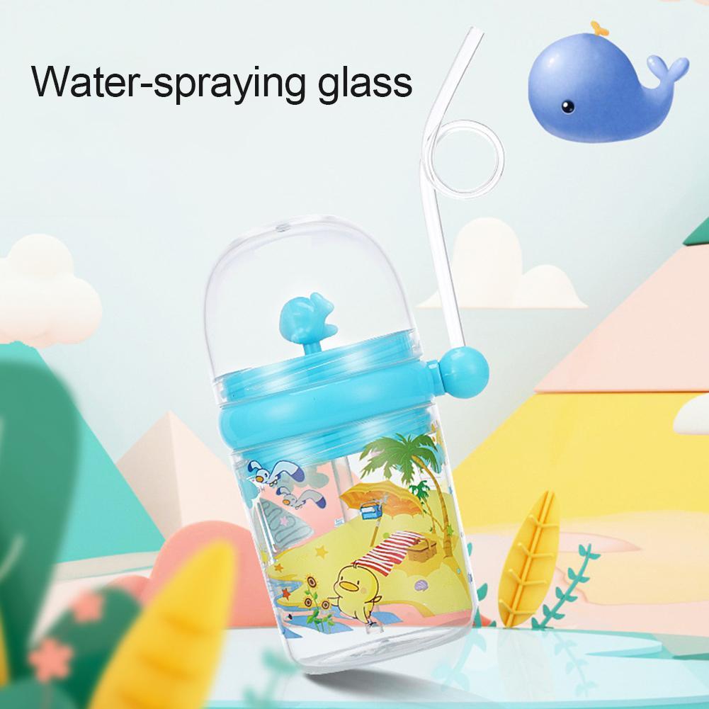 Taza de alimentación para niños con dibujo de ballena Agua pulverizada de 250ml, taza para beber con pajita, botella para beber, tazón taza, botella para beber, tazón taza, bebida