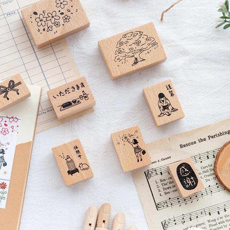 1 шт. деревянные марки японский вишневый цвет фейерверк поставки Резиновые Марки для скрапбукинга девушка марки пуля журнал