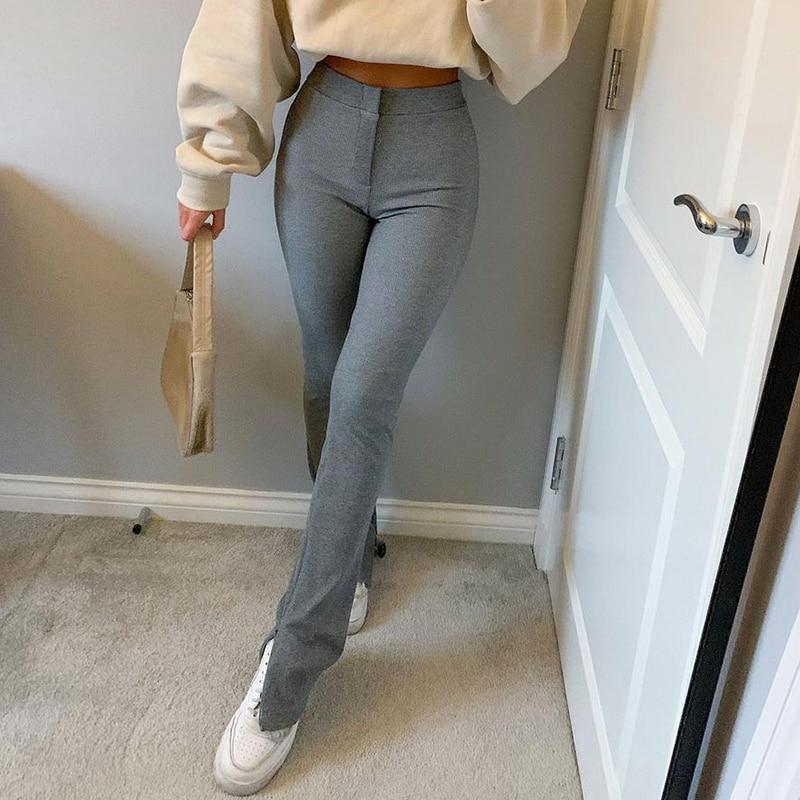 Streetwear Solid Sweatpants Tracksuit Women's Sports Pants 2020 High Waist Side Split Fashion Skinny